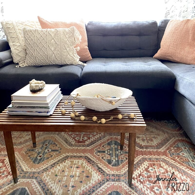 Midcentury decor with handamde paper mache bowl