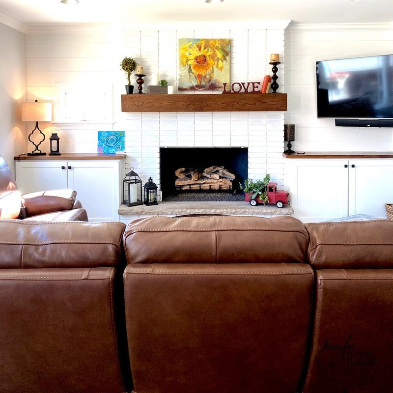 White Painted Brick Fireplace Makeover