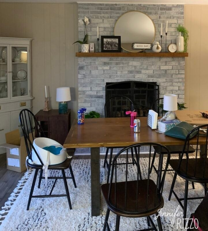 DIning room before mantel restyle
