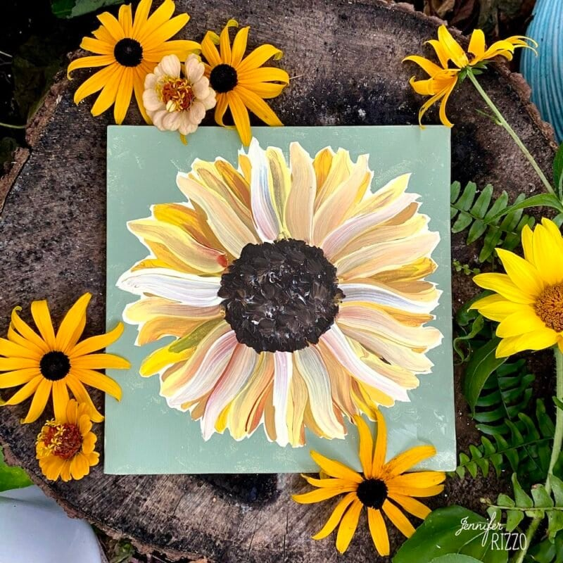Easy painted sunflower DIY on canvas