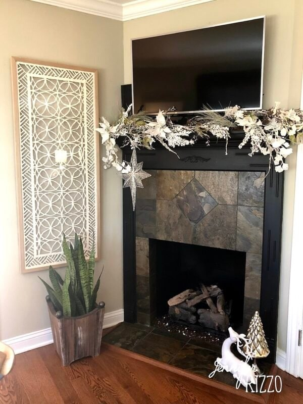 Fireplace before painting tile and over mantel