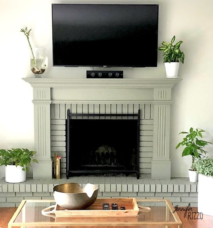 Fireplace painted sage green color