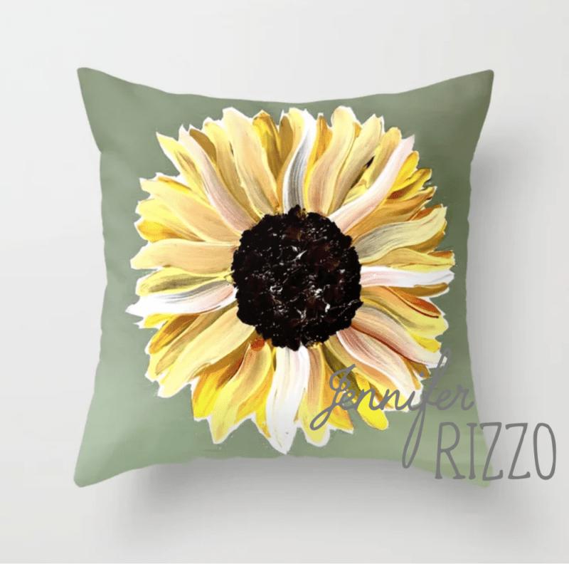 Sunflower painted pillow by Jennifer Rizzo