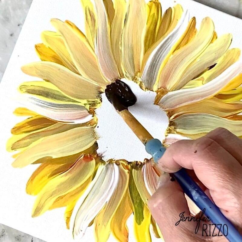 Use Burnt Umber to paint the sunflower center
