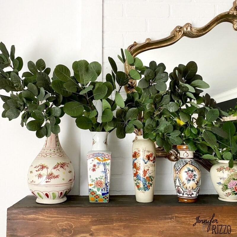 Vintage Asian Style vases and smoke bush clippings as a mantel dedcorating idea for late summer and early fall