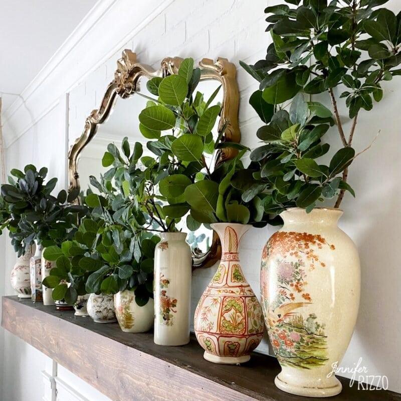 Vintage vase display on mantel