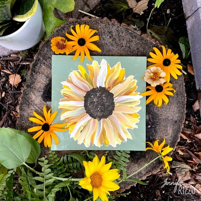 how to paint a sunflower tutorial DIY