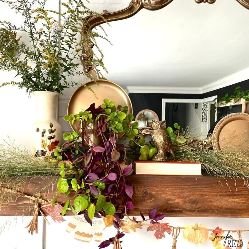 Brass owl on mantel with wildlfowers and live plants