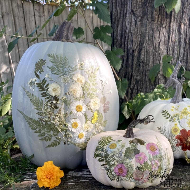 Decoupaged floral pumpkins