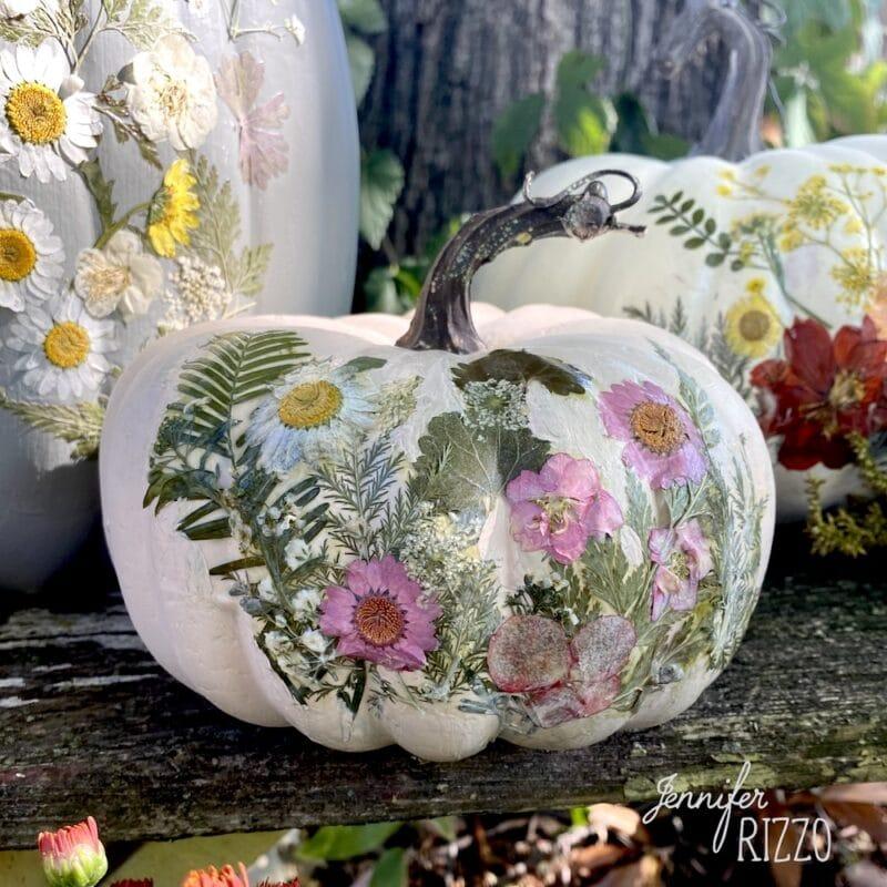 aux pumpkin decoupaged with flowers