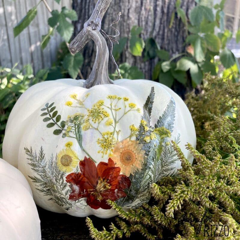 Floral decoupaged pumpkin