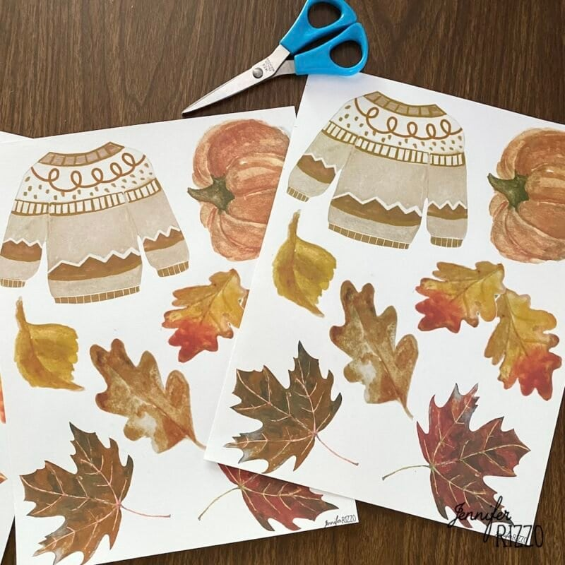 Free fall printable sweater and pumpkin and leaves