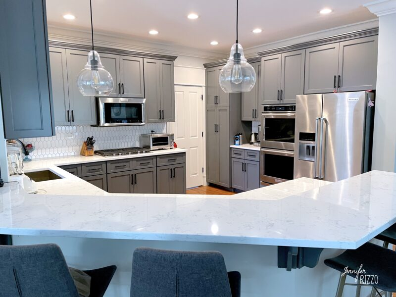 Kitchen remodel on a budget after cabinet refacing and new countertops