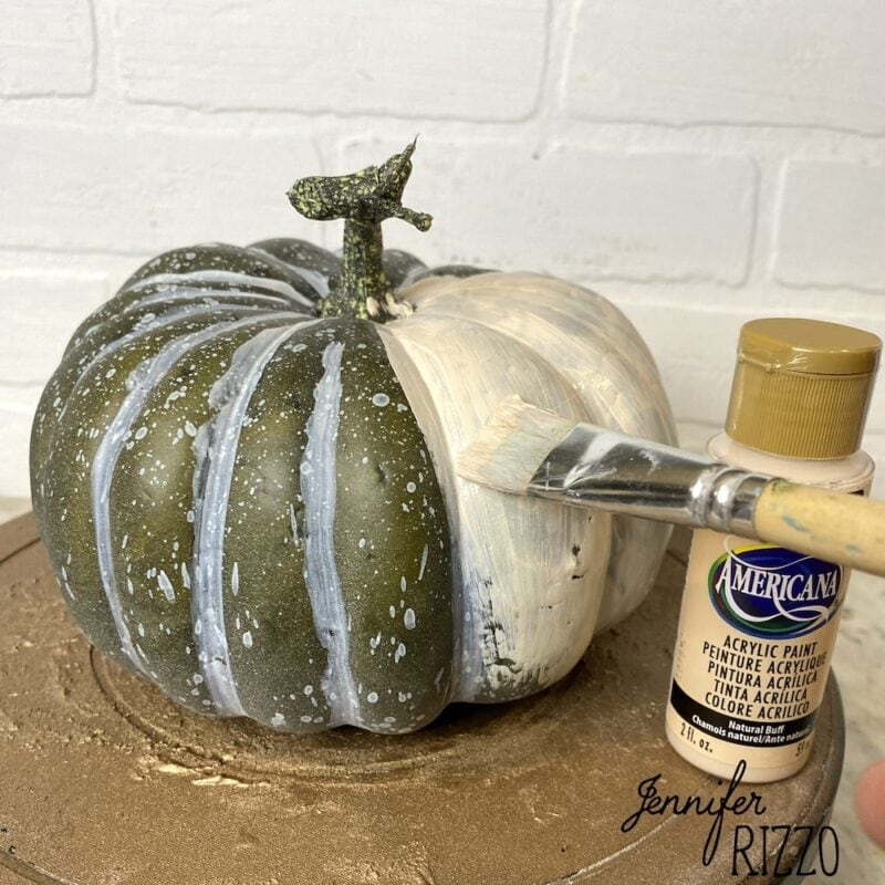 Paint faux pumpkins wtih acrylic paint