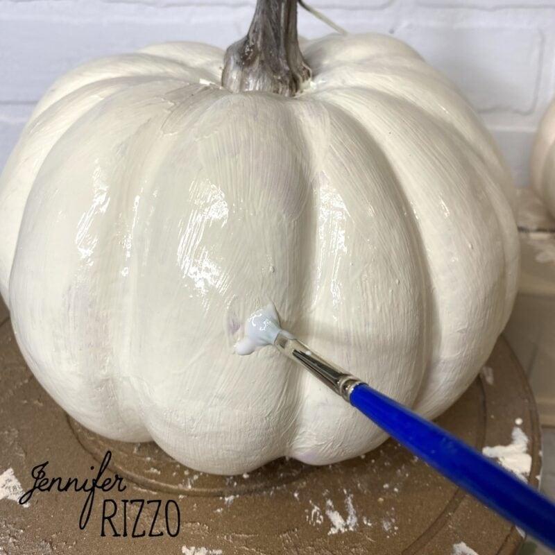 Put decoupage medium right onto faux pumpkin