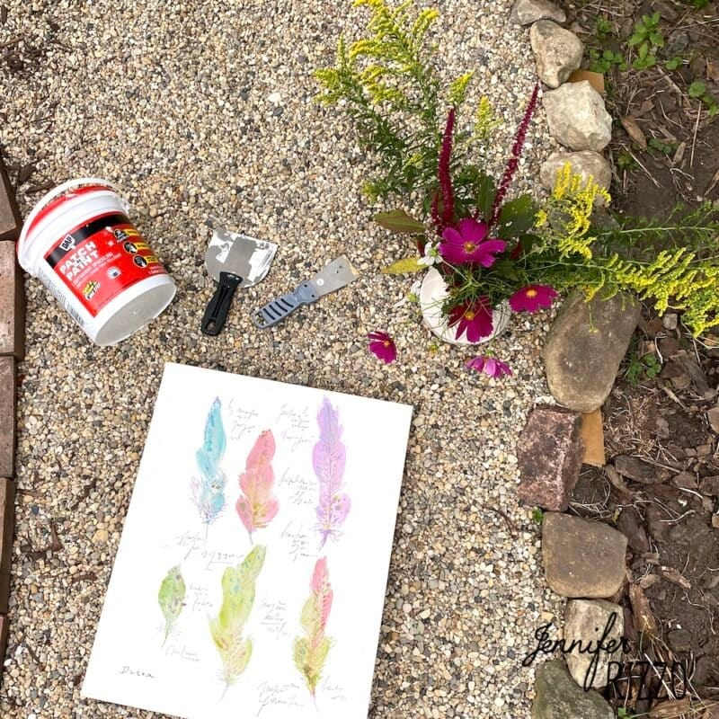 Supplies for DIY abstract floral impression art