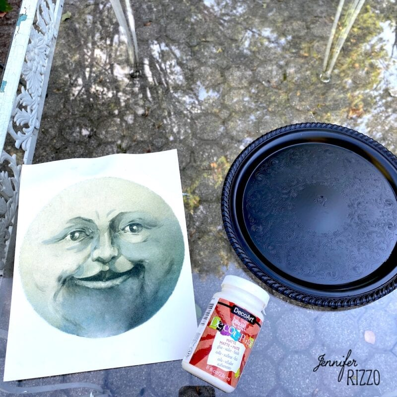 Supplies to make a man in the moon face tray
